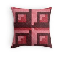 Red Blocks Pixel Pattern Throw Pillow