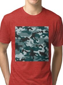 Turquoise Camouflage pattern Tri-blend T-Shirt
