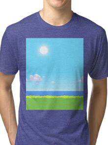 Pokemon Pixel Art 8 Bit Landscape Day Tri-blend T-Shirt