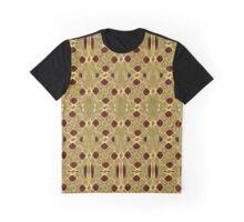 Interlinked Gold and Burgundy Mesh Design Graphic T-Shirt