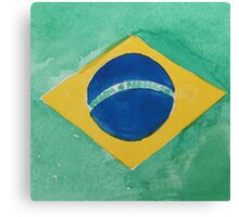 Brazil National Flag in Water Colors Green, Blue and Yellow Canvas Print