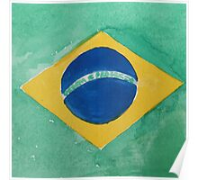 Brazil National Flag in Water Colors Green, Blue and Yellow Poster