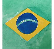 Brazil National Flag in Water Colors Green, Blue and Yellow Photographic Print