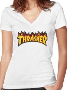 Thrasher Flames T shirt  Women's Fitted V-Neck T-Shirt