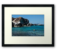 Swimming at the Baths on Virgin Gorda, British Virgin Islands, BVI Framed Print