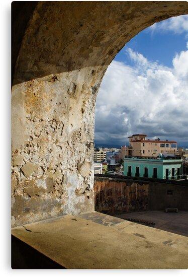 Caribbean Colors of San Juan, Puerto Rico From a Window of San Cristobal Castle by Georgia Mizuleva