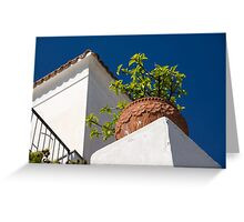 Contemplating Mediterranean Vacations - Red Tile Roofs and Terracotta Flowerpots Greeting Card