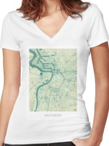 Antwerp Map Blue Vintage Women's Fitted V-Neck T-Shirt