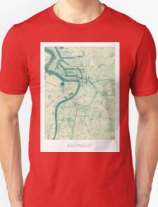 Antwerp Map Blue Vintage Unisex T-Shirt