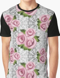Retro floral pink roses pattern, digital print retro lace background Graphic T-Shirt