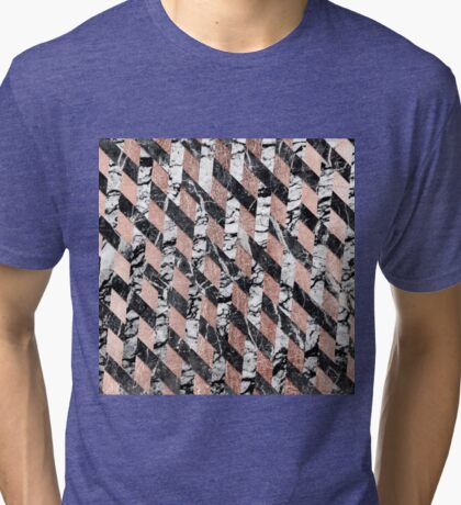 Modern Black and White Marble Rose Gold Crisscross Tri-blend T-Shirt