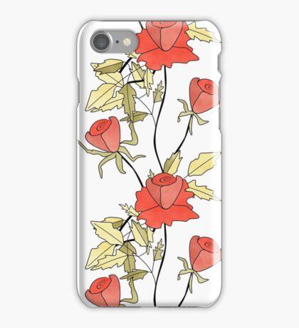 Retro floral red coral roses pattern, digital print retro iPhone Case/Skin