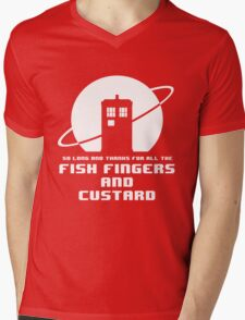 Fish Fingers and Custard White Mens V-Neck T-Shirt