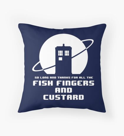 Fish Fingers and Custard White Throw Pillow