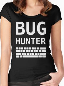 BUG HUNTER with Keyboard - Design for Test Engineers White Font Women's Fitted Scoop T-Shirt