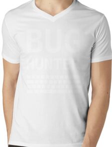 BUG HUNTER with Keyboard - Design for Test Engineers White Font Mens V-Neck T-Shirt
