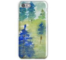 Blue forest - Watercolor landscape painting. iPhone Case/Skin