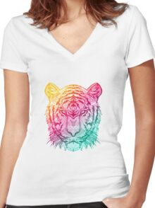 Warm Tiger Women's Fitted V-Neck T-Shirt