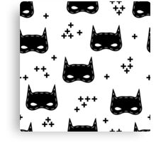 Kids pattern with super hero mask Canvas Print