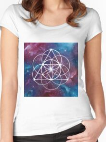 Seed of Life Sacred Geometry Space Women's Fitted Scoop T-Shirt