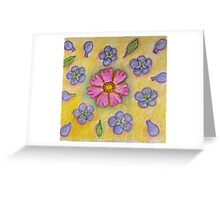 Yellow, purple and pink floral design Greeting Card