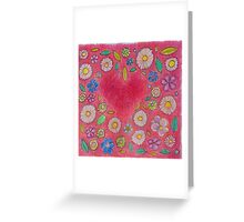 Pink Floral Heart Design Greeting Card