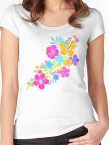 Tropical Watercolor Flowers  Women's Fitted Scoop T-Shirt