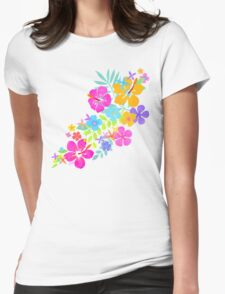 Tropical Watercolor Flowers  Womens Fitted T-Shirt