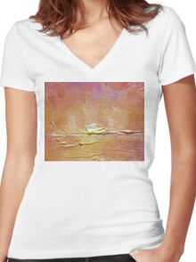 Sunset - Abstract Sun Setting Over The Ocean Women's Fitted V-Neck T-Shirt