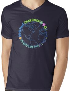 Think Green World Mens V-Neck T-Shirt