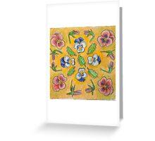 Floral Pansy Mandala Design Greeting Card