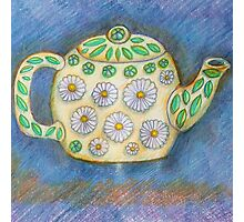 Cute Teapot with Daisy Design Photographic Print