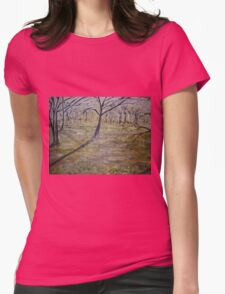 Early morning sun in park Womens Fitted T-Shirt
