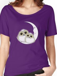 Cute Whimsy Snowy Owls On Crescent Moon Women's Relaxed Fit T-Shirt