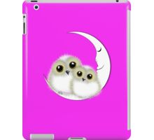 Cute Whimsy Snowy Owls On Crescent Moon iPad Case/Skin
