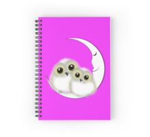 Cute Whimsy Snowy Owls On Crescent Moon Spiral Notebook