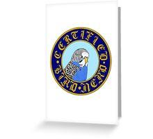 Certified Bird Nerd (budgie blue) Greeting Card