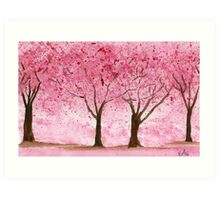 Cherry Trees - Watercolor Painting Art Print