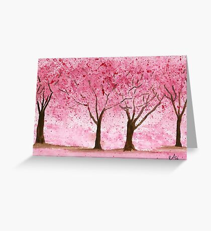 Cherry Trees. Watercolor Painting Art Print Fine Art Print from Watercolor Painting Cherry Trees Landscape Painting Art Watercolor Wall Art Greeting Card