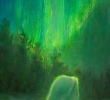 Aurora Beluga - White Whale Northern lights Painting Sticker