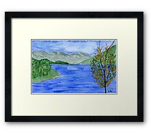 Blue Landscape - Watercolor Painting Framed Print
