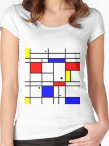 Mondrian style art Women's Fitted Scoop T-Shirt