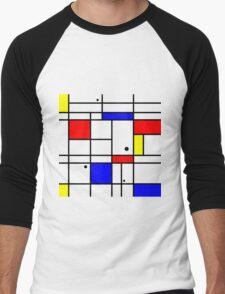 Mondrian style art Men's Baseball ¾ T-Shirt
