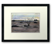 Abstract Landscape in cold colors - Watercolor Painting Framed Print