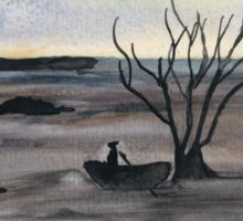 Abstract Landscape in cold colors - Watercolor Painting Sticker