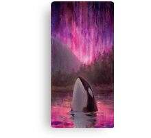 Aurora Orca - Killer Whale and Northern lights Coastal Painting Canvas Print