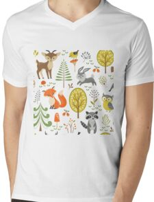 Cute Colorful Pastel Tones Stylized Forest & Animals Illustration  Mens V-Neck T-Shirt