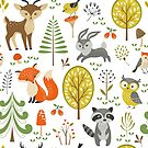 Cute Colorful Pastel Tones Stylized Forest & Animals Illustration  by artonwear