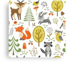 Cute Colorful Pastel Tones Stylized Forest & Animals Illustration  Canvas Print