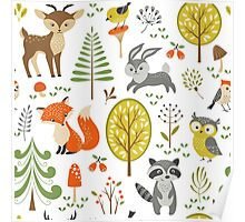 Cute Colorful Pastel Tones Stylized Forest & Animals Illustration  Poster
